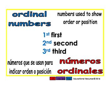ordinal numbers/numeros ordinales prim 1-way blue/rojo