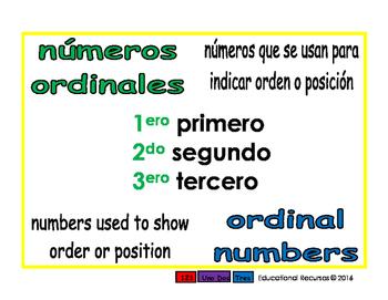 ordinal numbers/numeros ordinales prim 1-way blue/verde