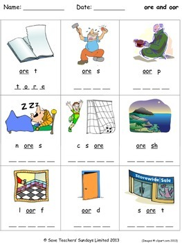 ore and oor phonics lesson plans, worksheets and other teaching resources