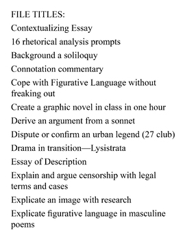 original writing assignments for AP and Honors English: 40 good ones