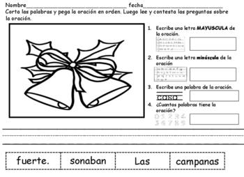 Cortar y Pegar Oraciones Navidad Spanish Cut and Paste Sentences Xmas