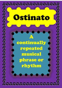 ostinato poster, ostinato anchor chart, teachers resources, music classroom