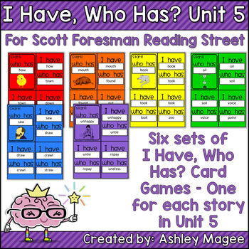 Scott Foresman Reading Street I Have Who Has Spelling Cards Unit 5 1st Grade