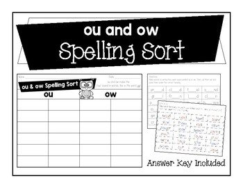 ou and ow Spelling Sort