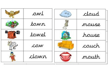 ou and ow phonics match picture to words game