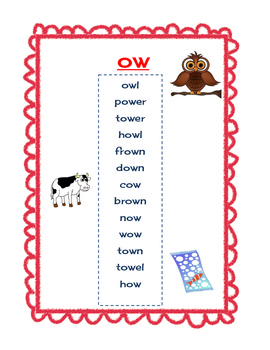 ou and ow sorting activity - pb&j