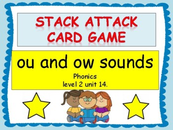 "ou and ow sounds ""Stack Attack"" card game"