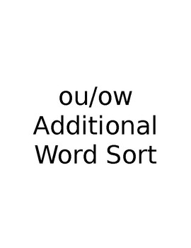 ou/ow Additional Word Sort