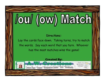 /ou/ (ow) Match Workstation Game or Small Group Activity