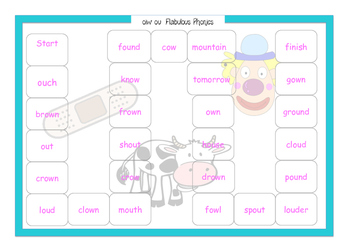 ou ow Phonics Game Year 1 screen support
