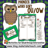 ou ow Word Sort- File Folder Word Sorts