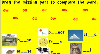 Promethean Board-ou, ow words flipchart. Dot and Jabber Treasures First Grade