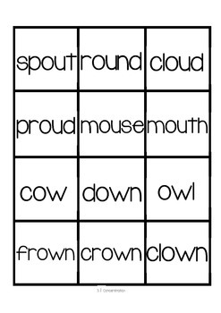 ou/ow Word Work Packet