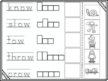 ow Long Vowel Cut and Paste