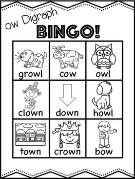 ow Vowel Digraph Bingo Freebie! [5 playing cards]