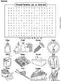 ue, ui and ew Vowel Team: Phonics Word Search/ Coloring Sheet (Long U Sounds)