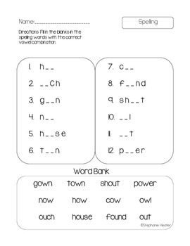 'ow' and 'ou' spelling practice