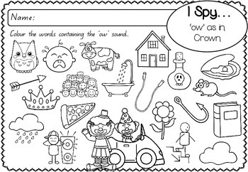 'ow' as in Clown - Spelling Activity Packet