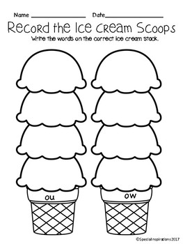 ow/ou Ice Cream Stack Literacy Center and Phonics Activity