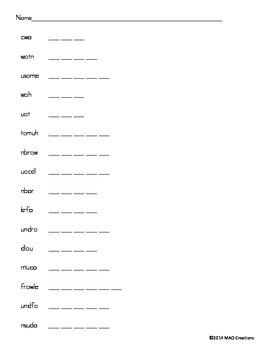 ow ou Word Scramble - 1st Grade Journeys Lesson 25