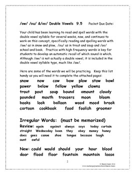/ow/, /ou/ and /oo/ Double Vowel 9.5 Supplemental Homework Packet
