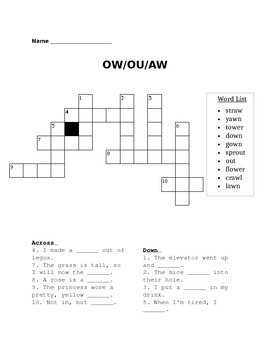 ow, ou, au crossword puzzle