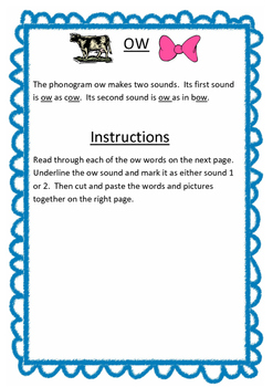 ow sound sorting activity worksheet Spalding phonograms LE