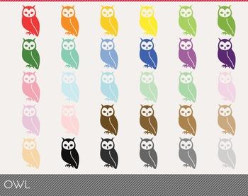 owl Digital Clipart, owl Graphics, owl PNG, Rainbow owl Digital Files