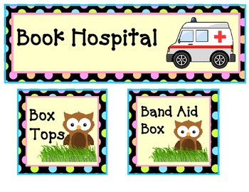 owl theme box tops, book hospital and band aid box labels