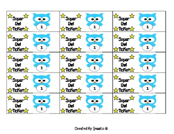 owl themed reward tickets for any classroom management system