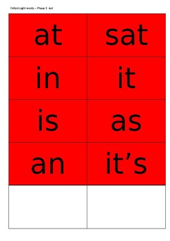oxford sight words sorted into sounds supporting jolly phonics flash cards