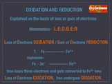 Oxidation and Reduction in terms of loss and gain of elect