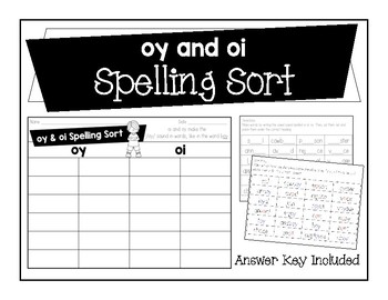 oy and oi Spelling Sort