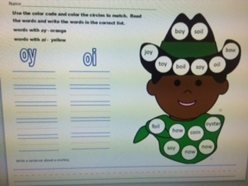 oy and oi sounds worksheet