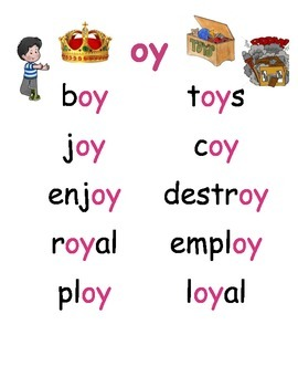 oy diphthong chart