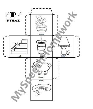 /p/ Articulation Dice Craft - initial, medial, & final