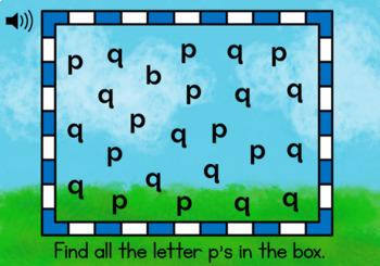 p and q Letter Reversal Digital Task Cards