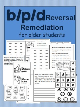 p/b/d Reversal Remediation for older students - 13 Printables