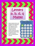 p, q, b, d Letter Mazes