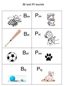 p vs. b phonemic picture words