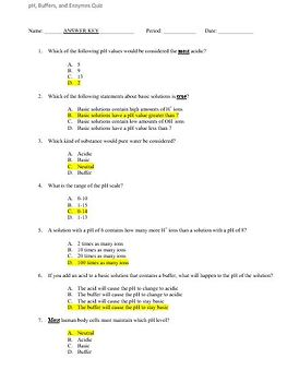 pH, Buffers, and Enzymes Quiz