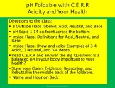 pH Foldable with C.E.R about Acidity and Your Health