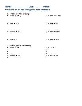 pH and pOH exercises with solution and answer key to each problem