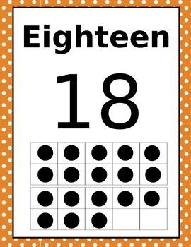 pOLKA dOT Number Set 0-20 Ten Frame
