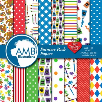 Painting digital scrapbooking papers, Art Class themes AMB-122