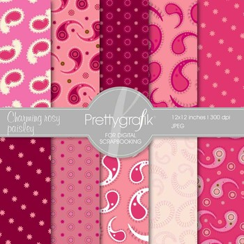 paisley digital paper, commercial use, scrapbook papers, b