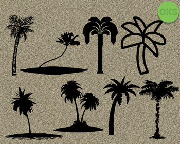 palm tree SVG cut files, DXF, vector EPS cutting file instant download