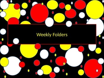 paper Bin labels red white and yellow polka dot theme
