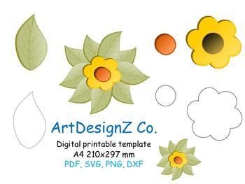 paper flower, 3d, floral, templates pdf, svg, sunflower stencil, digital  paper,