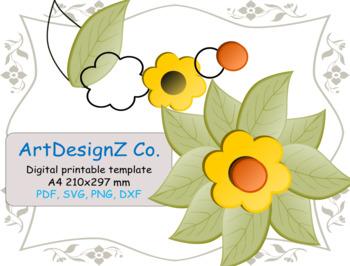 Paper Flower 3d Floral Templates Pdf Svg Sunflower Stencil Digital Paper